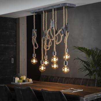 Suspension vintage cordes ajustables 7 lampes RALF