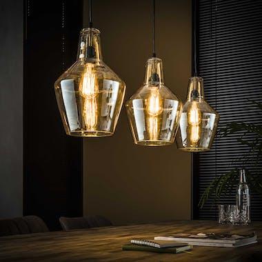 Suspension vintage en verre ambré 3 lampes LUCKNOW
