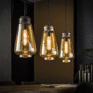 Suspension vintage en verre ambré travaillé 3 lampes LUCKNOW