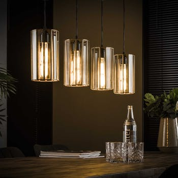 Suspension vintage verre forme cylindre 4 lampes bronze vieilli RALF