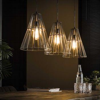 Suspension vintage verre forme parapluie 3 lampes bronze vieilli RALF