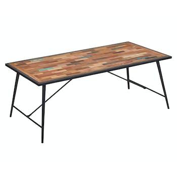 Table a manger rectangulaire bois recycle et metal style industriel