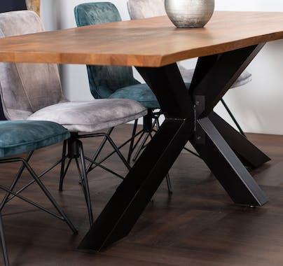Table à manger en bois de chêne bordures naturelles 240 cm OKA