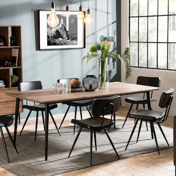 Table de repas revetement bois pieds metal de style contemporain