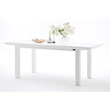 Table de repas rectangulaire extensible bois blanc style bord de mer