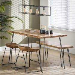 Table à manger bois d'acacia bordure naturelle 130 cm MELBOURNE