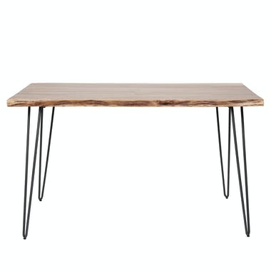 Table à manger bois d'acacia bordure naturelle 130 cm MELBOURNE