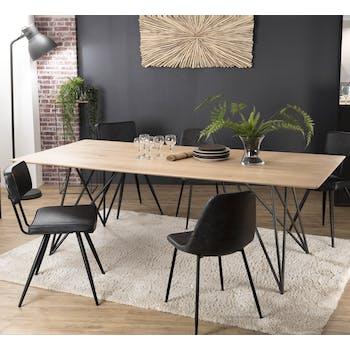 Table de repas bois recycle pieds epingles metal style contemporain