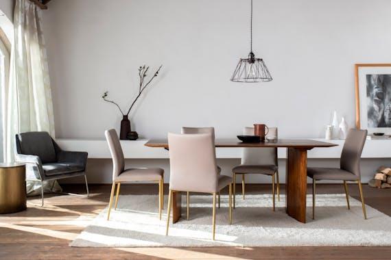 Table de repas rectangle style vintage bois massif manguier