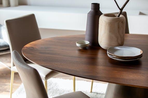 Table a manger ovale bois massif manguier style vintage