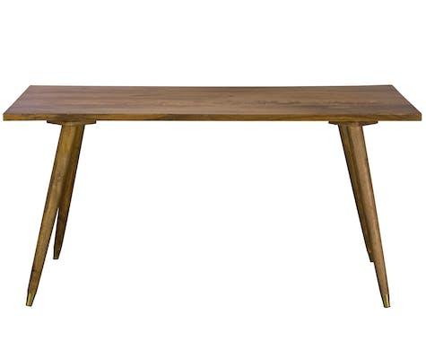 Table de repas bois et decoration laiton style contemporain