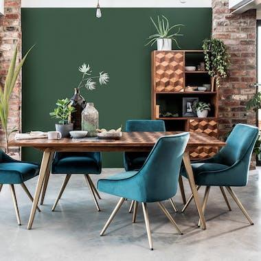 Table de repas en bois decoration marqueterie style contemporain