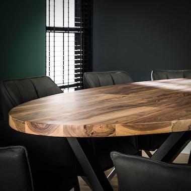 Table à manger bois forme ovale 270 cm HALIFAX