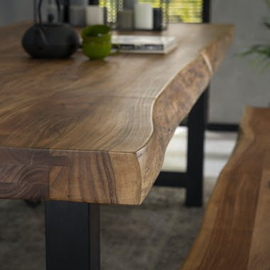 Table à manger bois massif métal 165 cm MELBOURNE