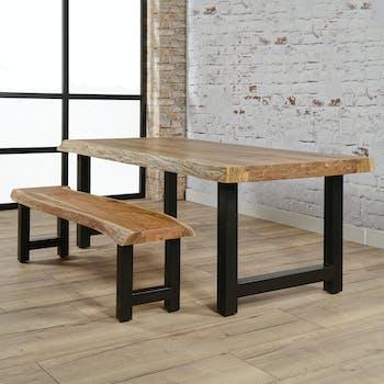 Table à manger bois massif métal 200 cm MELBOURNE