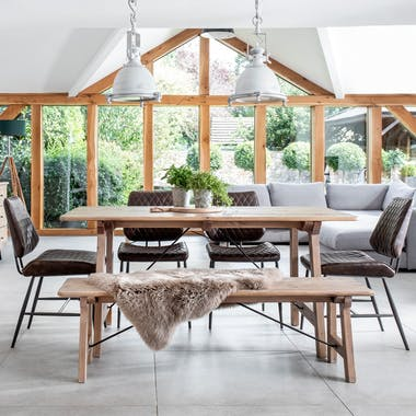 Table de repas rectangulaire bois recycle FSC de style campagne