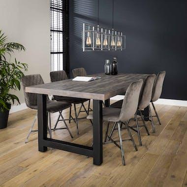 Table de repas rectanguaire bois recycle gris style industriel