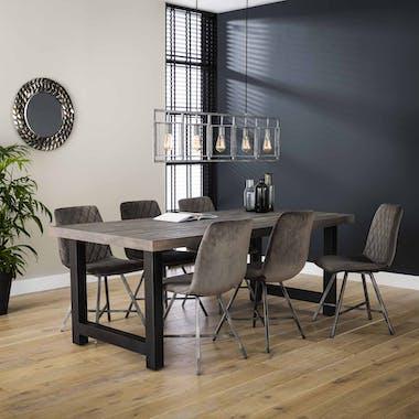 Table a manger rectangulaire bois recycle gris style industriel