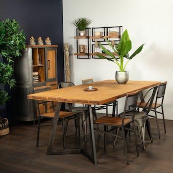 Table à manger bois recyclé teck pied accent 220 cm CLEVELAND