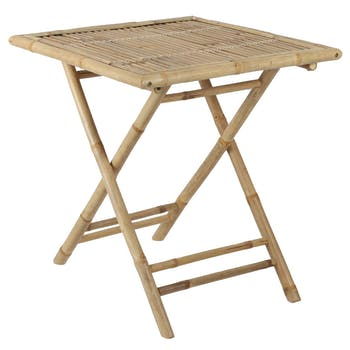 Table à manger carrée bambou naturel
