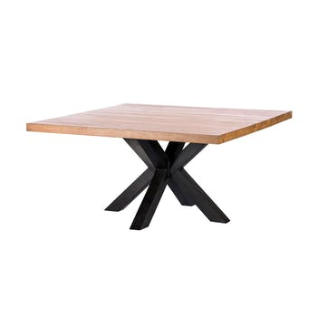 Table de repas carree bois massif pied central metal style contemporain