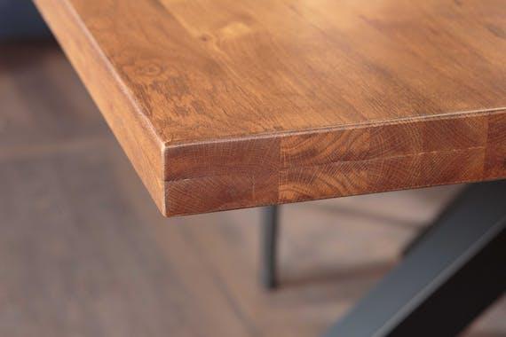 Table de repas bois massif pieds en croix metal style contemporain