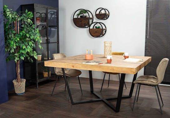 Table à manger carrée en bois recyclé 147 cm CANBERRA
