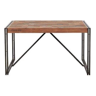 Table de repas carree en bois recycle de style industriel