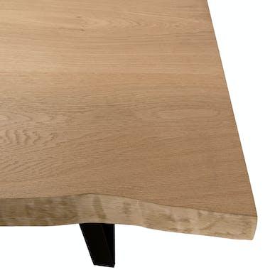 Table a manger moderne plateau en chene pied metal style contemporain