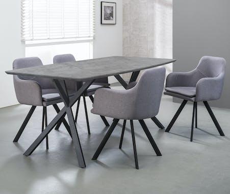 Table de repas effet beton pieds metal de style contemporain