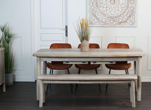 Table de repas extensible bois acacia massif 2 allonges style contemporain