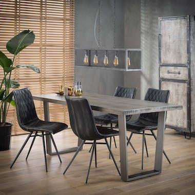 Table de repas en bois gris pieds metal style contemporain