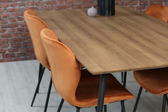 Table à manger effet bois brun 160 cm HELSINKI