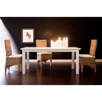 Table de repas rectangulaire bois blanc style bord de mer
