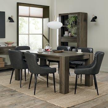 Table à manger en bois de chêne fumé 180 cm ALLEN