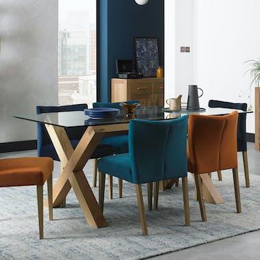 Table à manger en verre et bois 180 cm ALTA