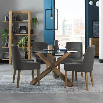 Table à manger en verre et bois ronde D 120 cm ALTA