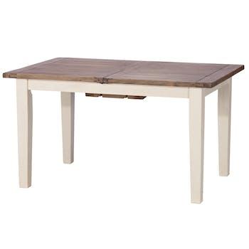 Table de repas rectangulaire extensible bois recycle FSC blanc