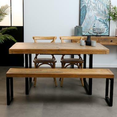 Table de repas extensible bois recycle et metal style industriel