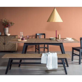 Table de repas extensible bois recycle FSC style campagne contemporaine