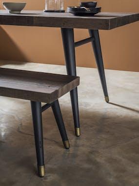 Table de repas style contemporain en bois recylce pieds metal