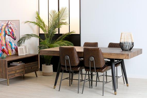 Table de repas style contemporain en bois recycle pieds metal