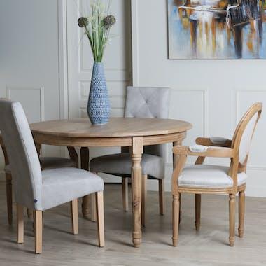 Grande table de repas ronde extensible en bois style classique