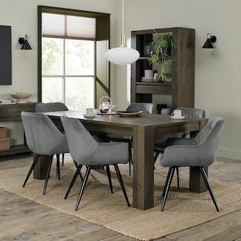Table à manger extensible en bois de chêne fumé 180-235 cm ALLEN