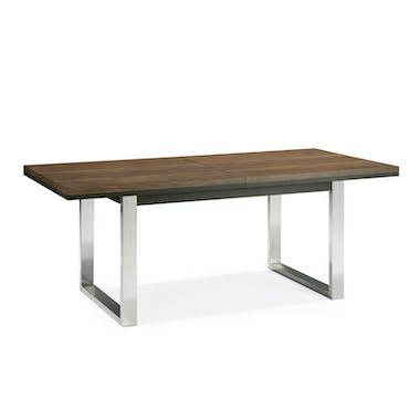 Table à manger extensible en chêne et métal brossé 190-240 RIMINI