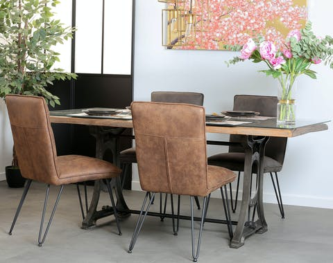 Table de repas en bois recycle et verre style industriel