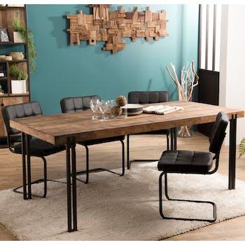 Table a manger en bois recylce pieds metal style contemporain