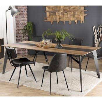Table de repas en bois recycle et metal style contemporain