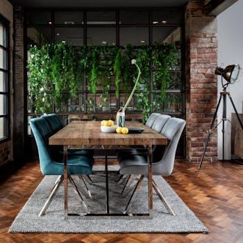 Table de repas style contemporain bois massif et metal