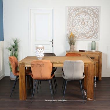 Table à manger moderne teck massif brossé 150 cm RIO